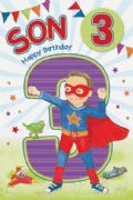 Son Age 3 Birthday Card